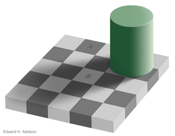 Checkerboard shadow illusion
